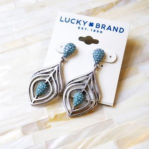 Lucky Brand Turquoise Bead Silver Toned Earrings